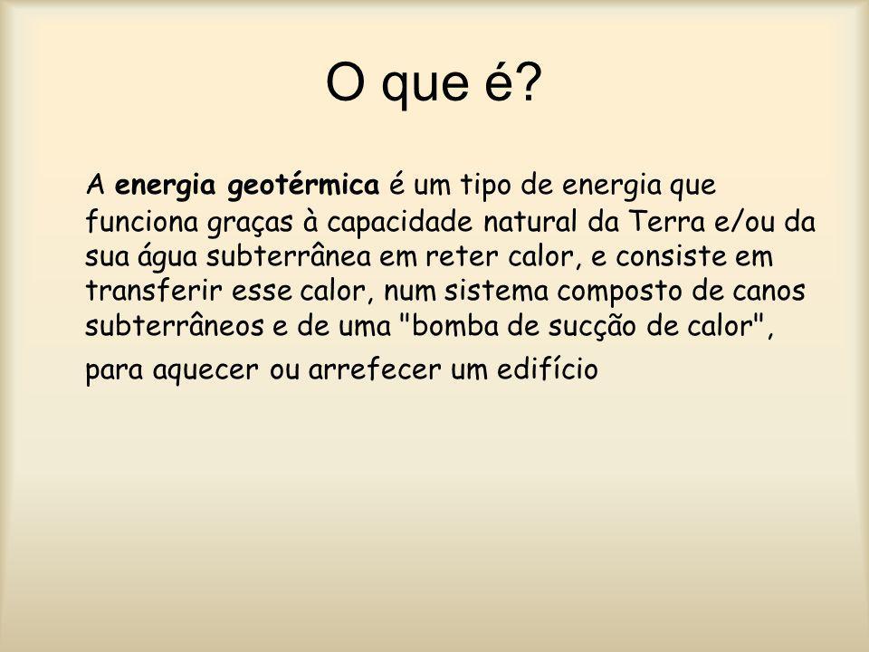Obtenção Obtemos energia geotérmica a partir de uma bomba de sucção de calor que é um componente do sistema que necessita de energia elétrica para poder funcionar.