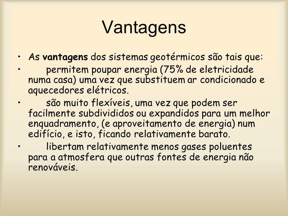 Vantagens As vantagens dos sistemas geotérmicos são tais que: permitem poupar energia (75% de eletricidade numa casa) uma vez que substituem ar condic