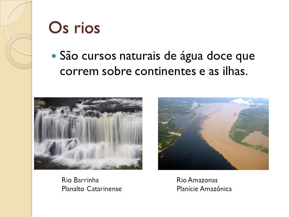 Os rios São cursos naturais de água doce que correm sobre continentes e as ilhas. Rio Barrinha Planalto Catarinense Rio Amazonas Planície Amazônica