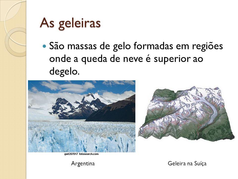 As geleiras São massas de gelo formadas em regiões onde a queda de neve é superior ao degelo. ArgentinaGeleira na Suíça