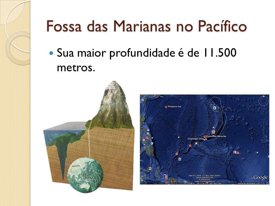 Fossa das Marianas no Pacífico Sua maior profundidade é de 11.500 metros.