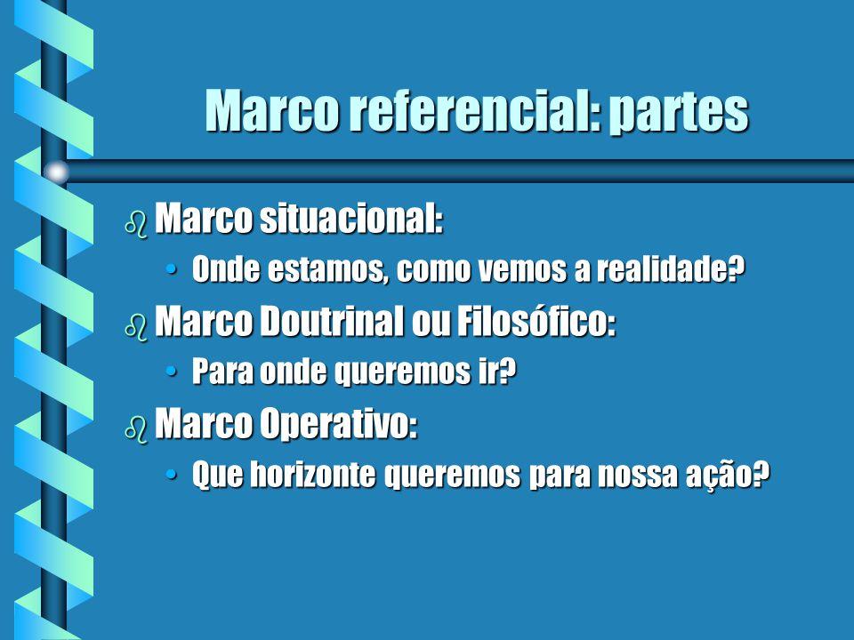 Marco referencial: partes b Marco situacional: Onde estamos, como vemos a realidade?Onde estamos, como vemos a realidade? b Marco Doutrinal ou Filosóf