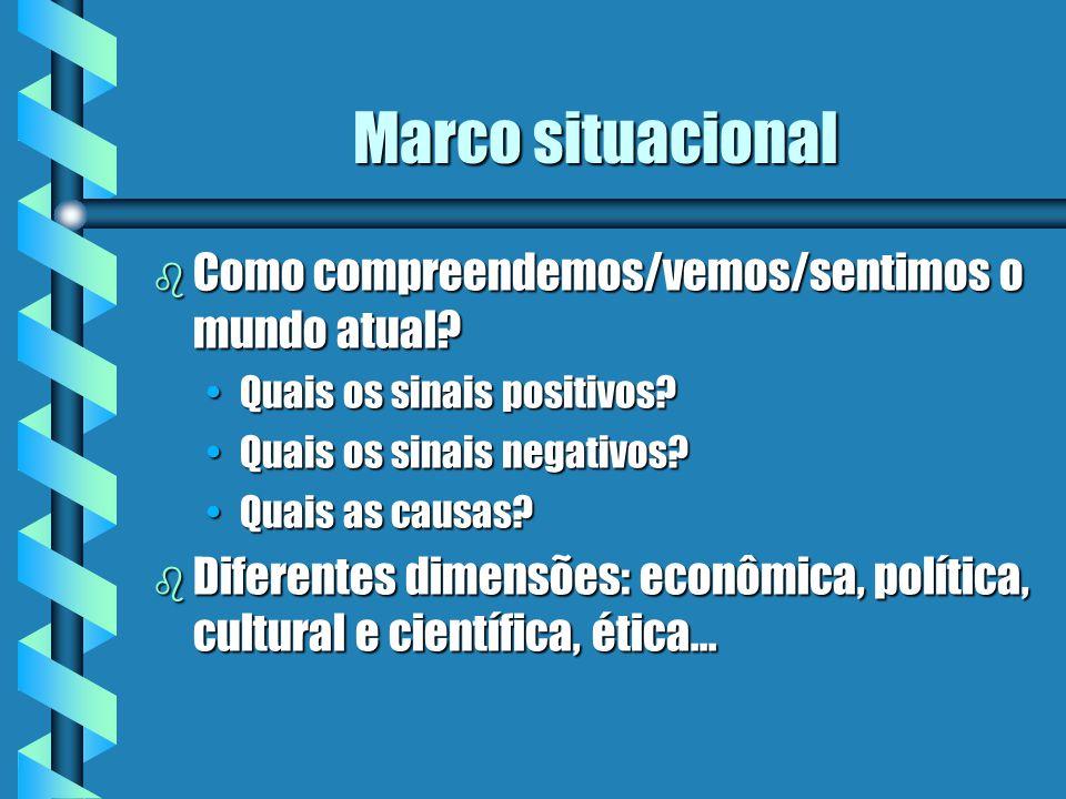 Marco situacional b Como compreendemos/vemos/sentimos o mundo atual? Quais os sinais positivos?Quais os sinais positivos? Quais os sinais negativos?Qu