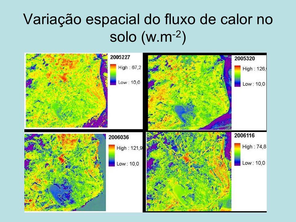 Variação espacial do fluxo de calor no solo (w.m -2 )