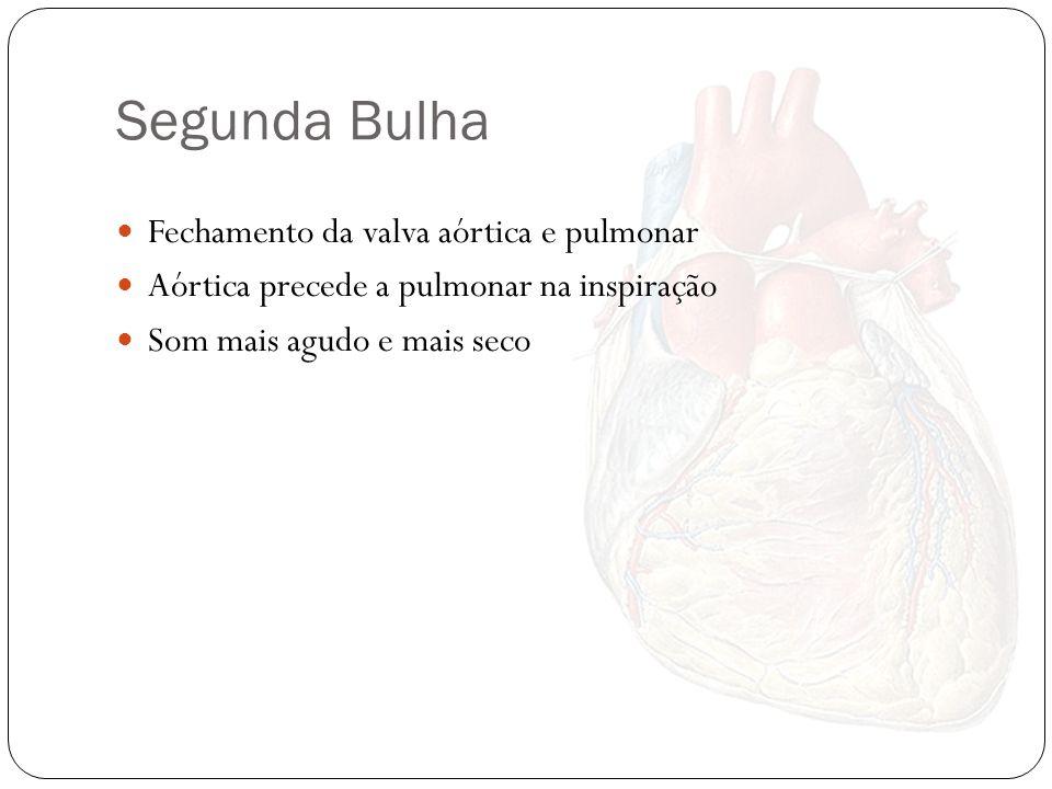 Segunda Bulha Fechamento da valva aórtica e pulmonar Aórtica precede a pulmonar na inspiração Som mais agudo e mais seco