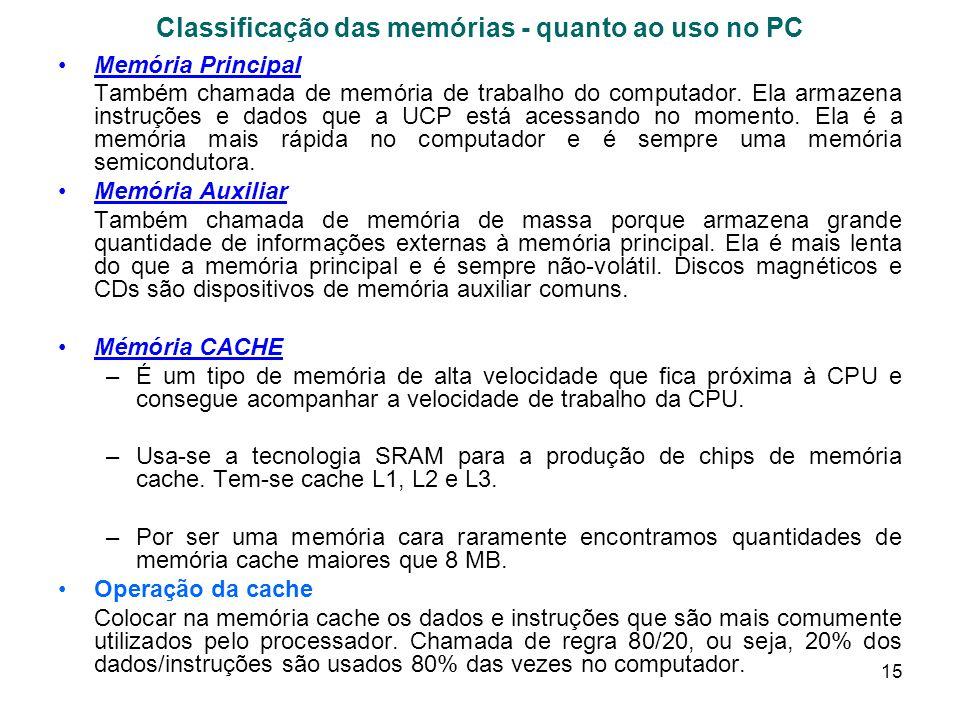 15 Classificação das memórias - quanto ao uso no PC Memória Principal Também chamada de memória de trabalho do computador. Ela armazena instruções e d