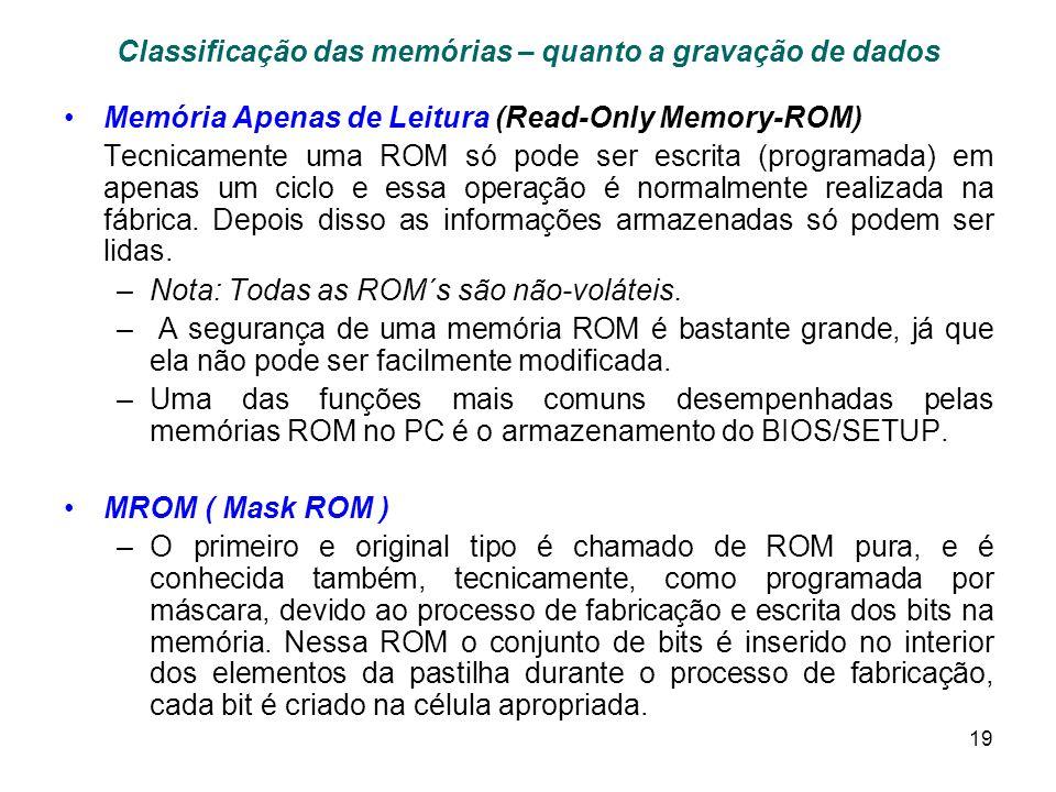 19 Classificação das memórias – quanto a gravação de dados Memória Apenas de Leitura (Read-Only Memory-ROM) Tecnicamente uma ROM só pode ser escrita (programada) em apenas um ciclo e essa operação é normalmente realizada na fábrica.