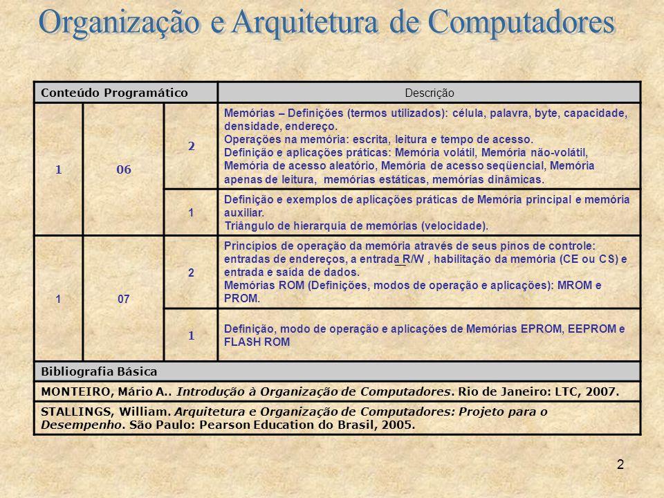 2 Conteúdo Programático Descrição 106 2 Memórias – Definições (termos utilizados): célula, palavra, byte, capacidade, densidade, endereço. Operações n