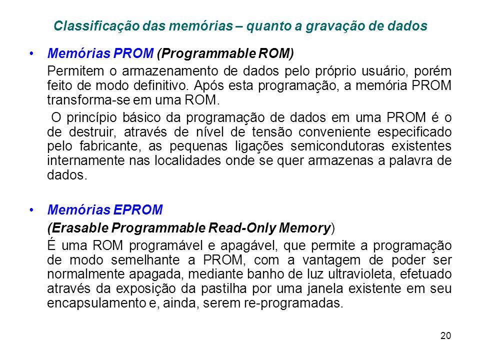 20 Classificação das memórias – quanto a gravação de dados Memórias PROM (Programmable ROM) Permitem o armazenamento de dados pelo próprio usuário, porém feito de modo definitivo.