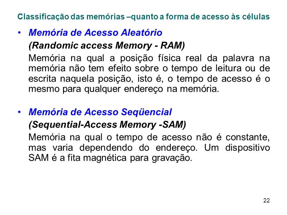 22 Classificação das memórias –quanto a forma de acesso às células Memória de Acesso Aleatório (Randomic access Memory - RAM) Memória na qual a posição física real da palavra na memória não tem efeito sobre o tempo de leitura ou de escrita naquela posição, isto é, o tempo de acesso é o mesmo para qualquer endereço na memória.