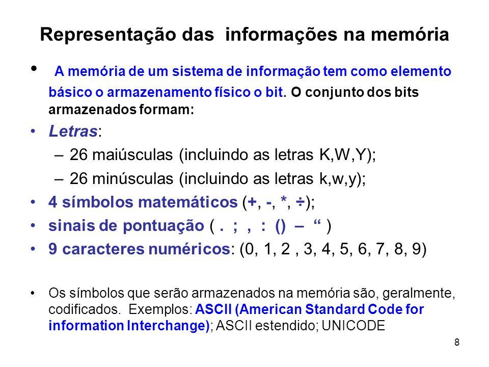 8 Representação das informações na memória A memória de um sistema de informação tem como elemento básico o armazenamento físico o bit. O conjunto dos
