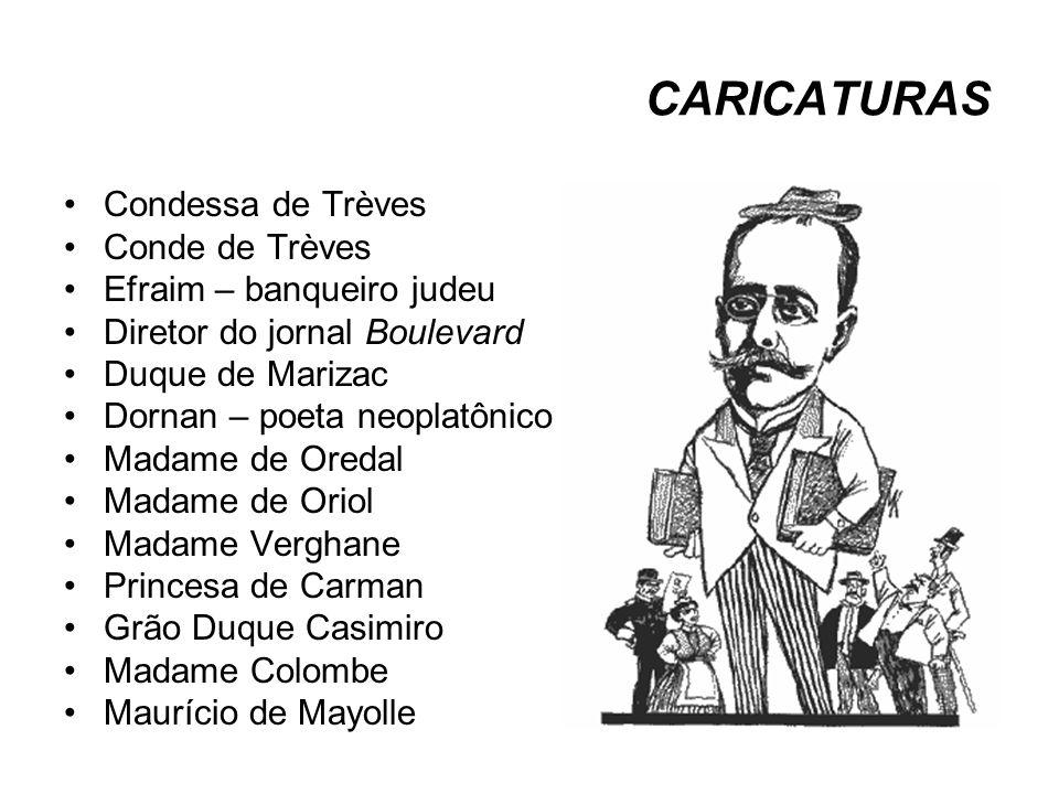 CARICATURAS Condessa de Trèves Conde de Trèves Efraim – banqueiro judeu Diretor do jornal Boulevard Duque de Marizac Dornan – poeta neoplatônico Madam