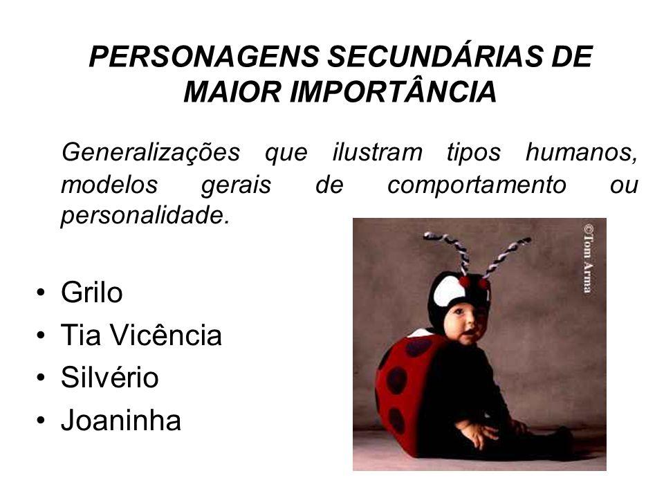PERSONAGENS SECUNDÁRIAS DE MAIOR IMPORTÂNCIA Generalizações que ilustram tipos humanos, modelos gerais de comportamento ou personalidade. Grilo Tia Vi
