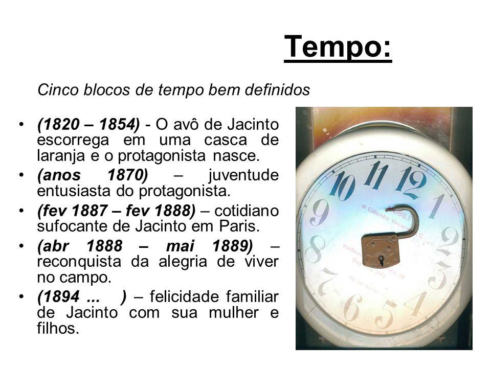 Tempo: (1820 – 1854) - O avô de Jacinto escorrega em uma casca de laranja e o protagonista nasce. (anos 1870) – juventude entusiasta do protagonista.