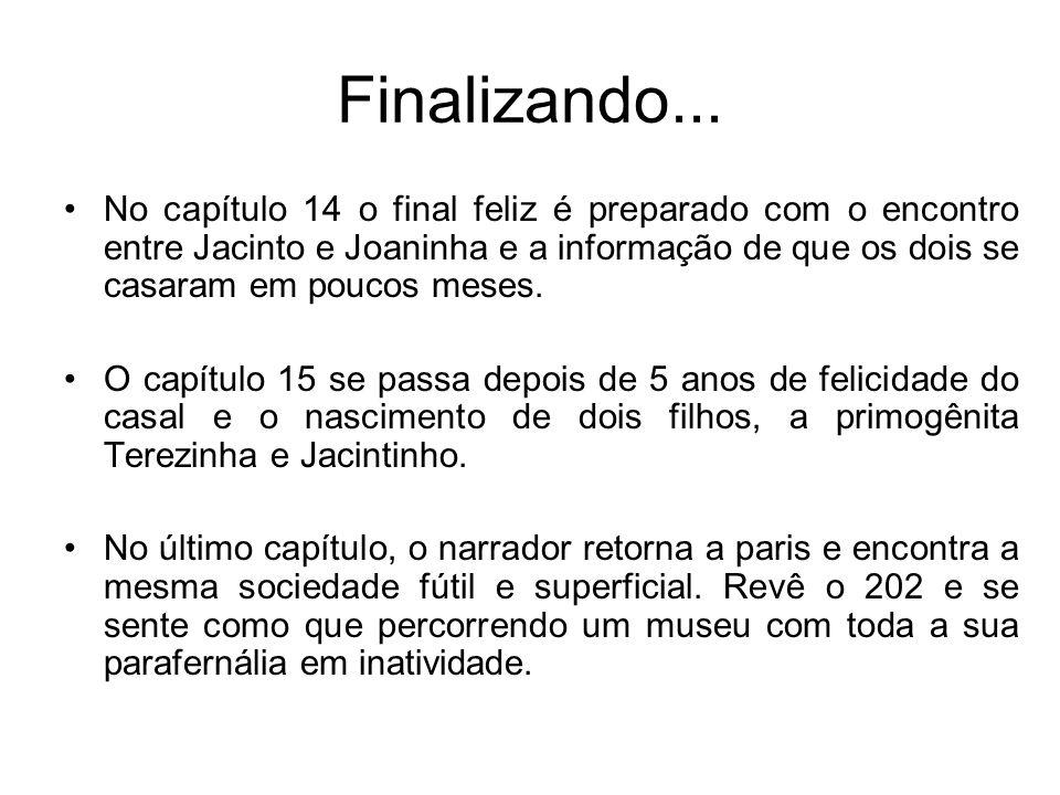 Finalizando... No capítulo 14 o final feliz é preparado com o encontro entre Jacinto e Joaninha e a informação de que os dois se casaram em poucos mes