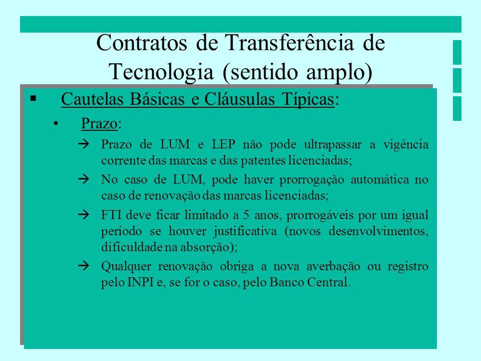 Contratos de Transferência de Tecnologia (sentido amplo) Cautelas Básicas e Cláusulas Típicas: Prazo: Prazo de LUM e LEP não pode ultrapassar a vigênc