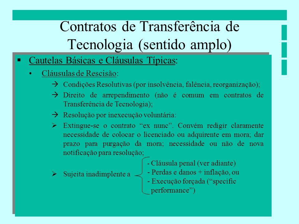 Contratos de Transferência de Tecnologia (sentido amplo) Cautelas Básicas e Cláusulas Típicas: Cláusulas de Rescisão: Condições Resolutivas (por insol