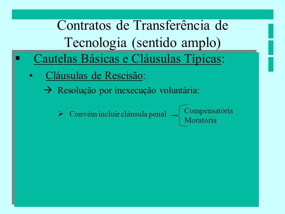 Contratos de Transferência de Tecnologia (sentido amplo) Cautelas Básicas e Cláusulas Típicas: Cláusulas de Rescisão: Resolução por inexecução voluntá