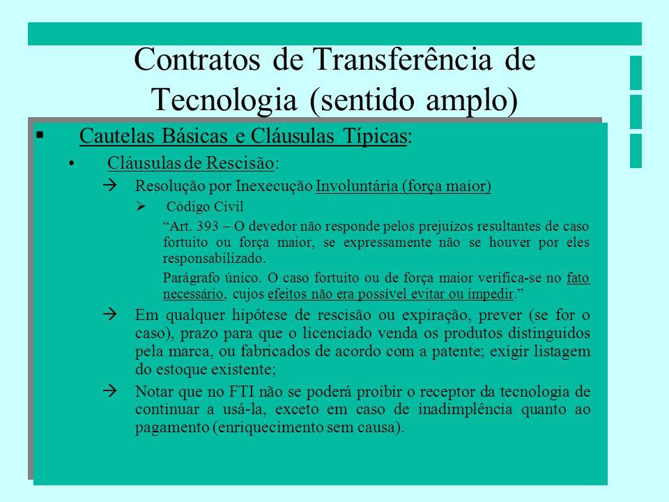 Contratos de Transferência de Tecnologia (sentido amplo) Cautelas Básicas e Cláusulas Típicas: Cláusulas de Rescisão: Resolução por Inexecução Involun