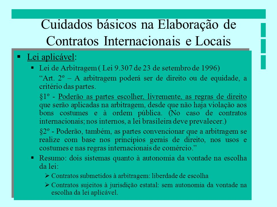 Cuidados básicos na Elaboração de Contratos Internacionais e Locais Lei aplicável: Lei de Arbitragem ( Lei 9.307 de 23 de setembro de 1996) Art. 2º –