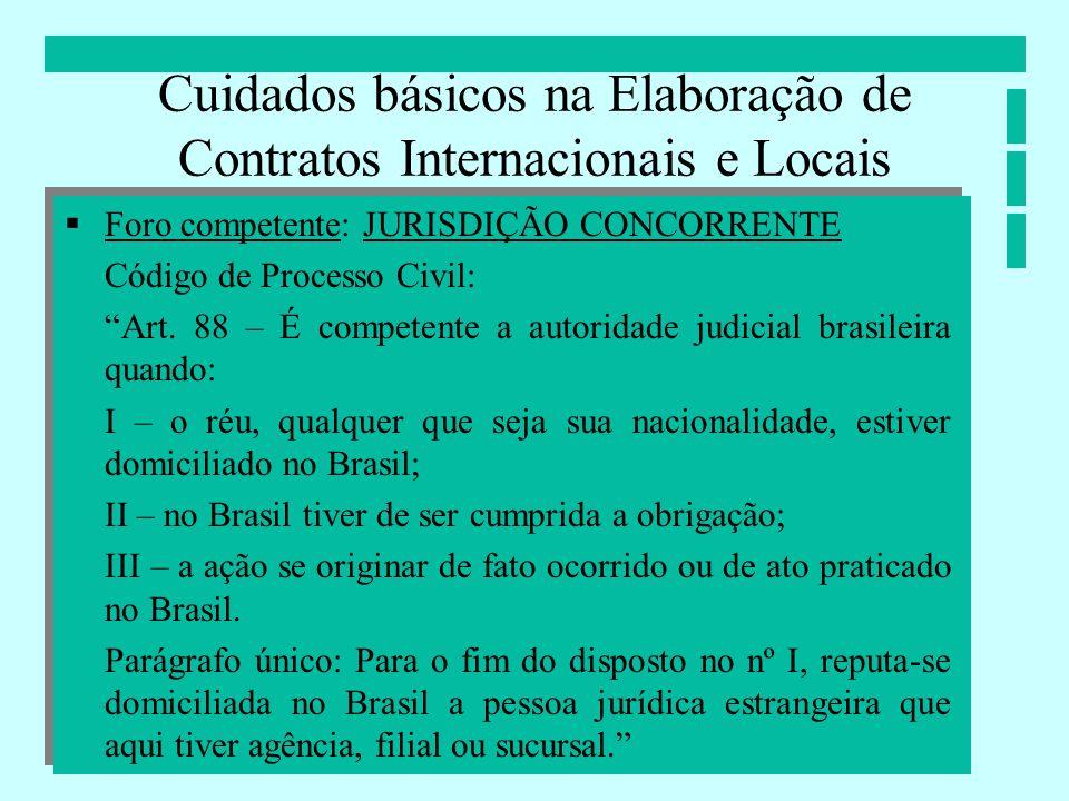 Cuidados básicos na Elaboração de Contratos Internacionais e Locais Foro competente: JURISDIÇÃO CONCORRENTE Código de Processo Civil: Art. 88 – É comp
