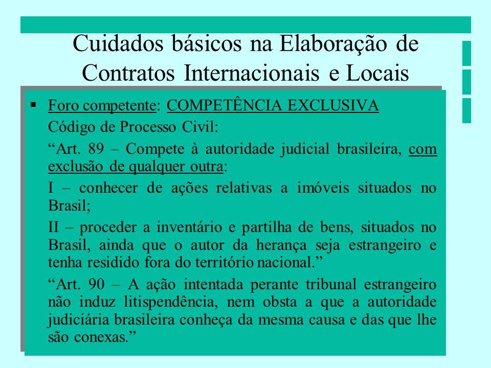 Cuidados básicos na Elaboração de Contratos Internacionais e Locais Foro competente: COMPETÊNCIA EXCLUSIVA Código de Processo Civil: Art. 89 – Compete