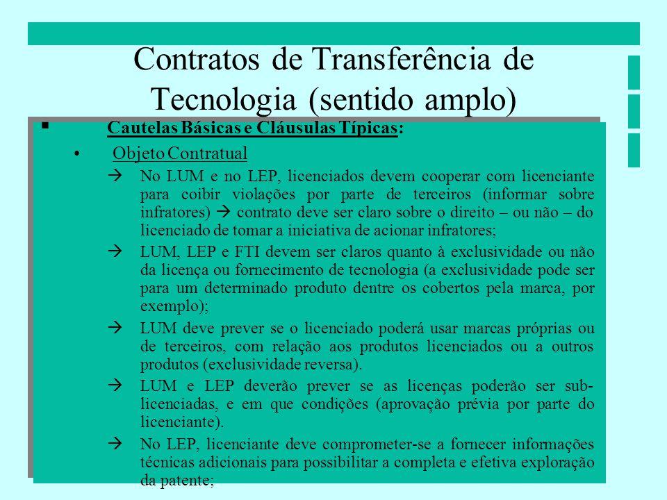 Contratos de Transferência de Tecnologia (sentido amplo) Cautelas Básicas e Cláusulas Típicas: Objeto Contratual No LUM e no LEP, licenciados devem co