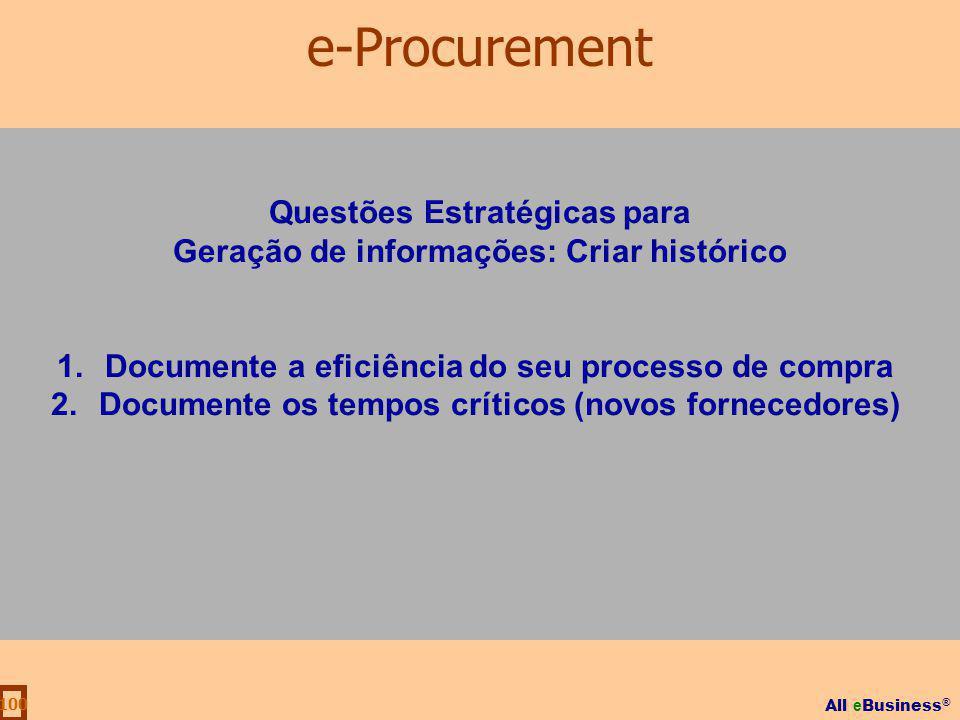 All e Business ® 100 Questões Estratégicas para Geração de informações: Criar histórico 1.Documente a eficiência do seu processo de compra 2.Documente