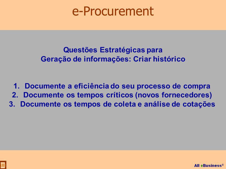 All e Business ® 101 Questões Estratégicas para Geração de informações: Criar histórico 1.Documente a eficiência do seu processo de compra 2.Documente