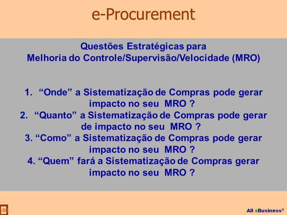 All e Business ® 108 Questões Estratégicas para Melhoria do Controle/Supervisão/Velocidade (MRO) 1.Onde a Sistematização de Compras pode gerar impacto