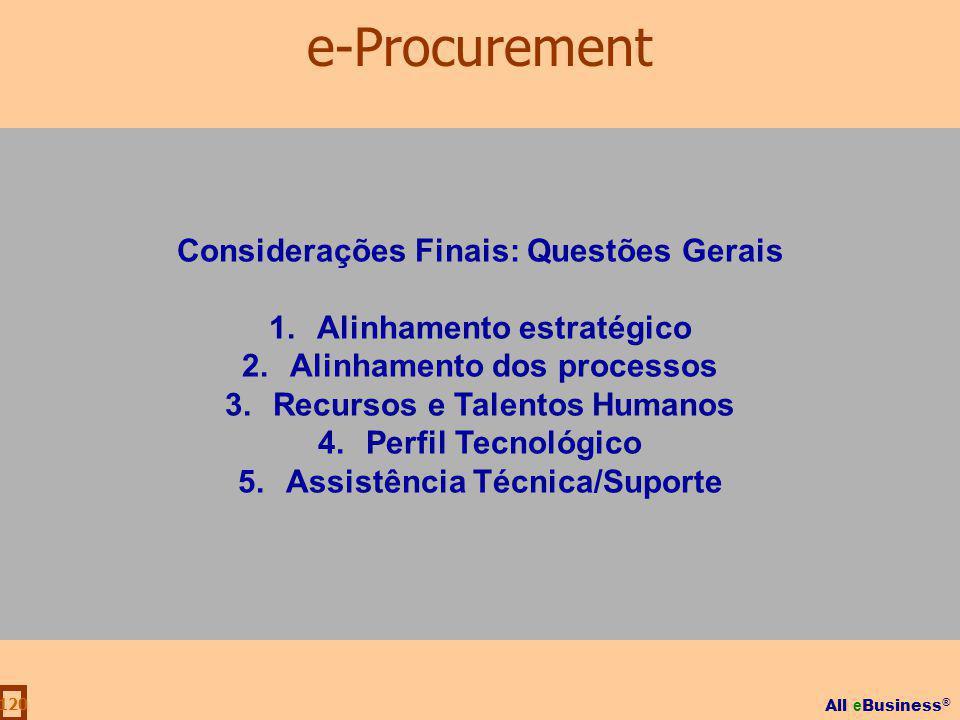 All e Business ® 120 Considerações Finais: Questões Gerais 1.Alinhamento estratégico 2.Alinhamento dos processos 3.Recursos e Talentos Humanos 4.Perfi