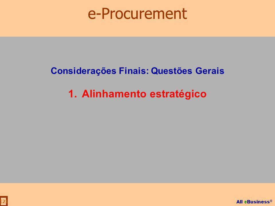 All e Business ® 121 Considerações Finais: Questões Gerais 1.Alinhamento estratégico e-Procurement