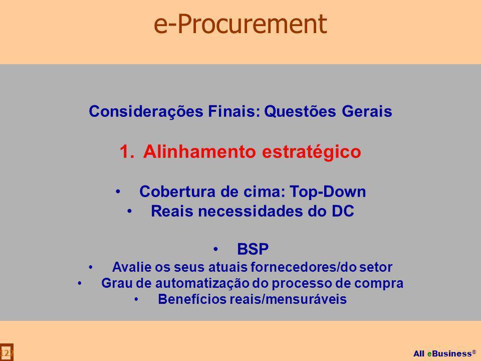 All e Business ® 122 Considerações Finais: Questões Gerais 1.Alinhamento estratégico Cobertura de cima: Top-Down Reais necessidades do DC BSP Avalie o