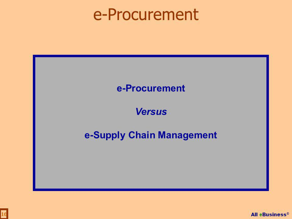 All e Business ® 16 e-Procurement Versus e-Supply Chain Management e-Procurement