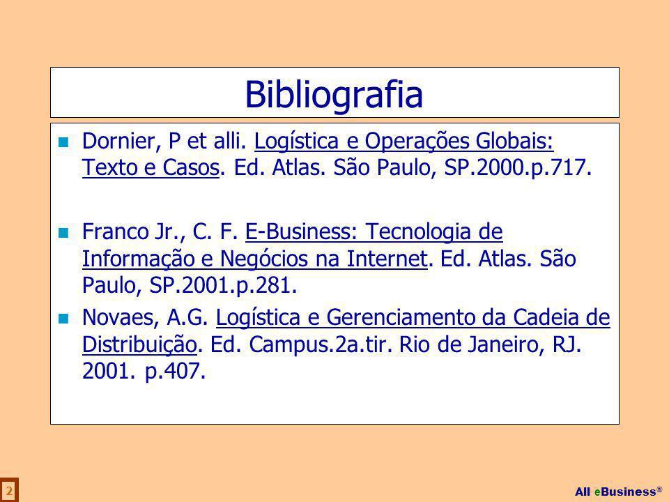 All e Business ® 2 Bibliografia Dornier, P et alli. Logística e Operações Globais: Texto e Casos. Ed. Atlas. São Paulo, SP.2000.p.717. Franco Jr., C.