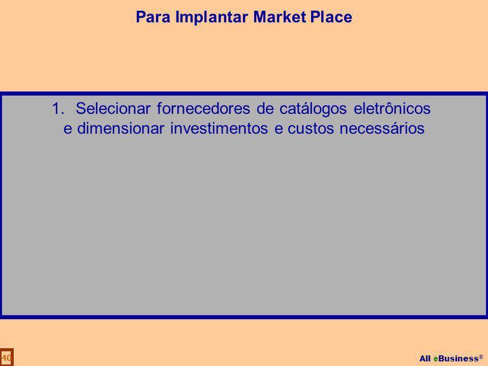 All e Business ® 40 1.Selecionar fornecedores de catálogos eletrônicos e dimensionar investimentos e custos necessários Para Implantar Market Place