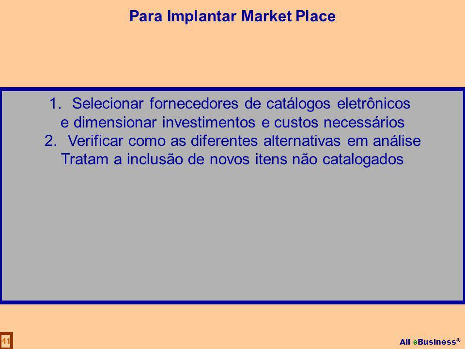 All e Business ® 41 1.Selecionar fornecedores de catálogos eletrônicos e dimensionar investimentos e custos necessários 2.Verificar como as diferentes