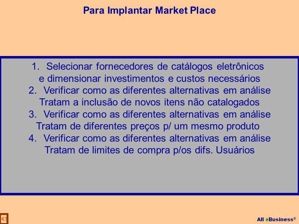 All e Business ® 43 1.Selecionar fornecedores de catálogos eletrônicos e dimensionar investimentos e custos necessários 2.Verificar como as diferentes