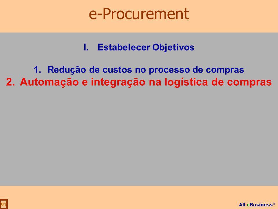 All e Business ® 91 I.Estabelecer Objetivos 1.Redução de custos no processo de compras 2.Automação e integração na logística de compras e-Procurement