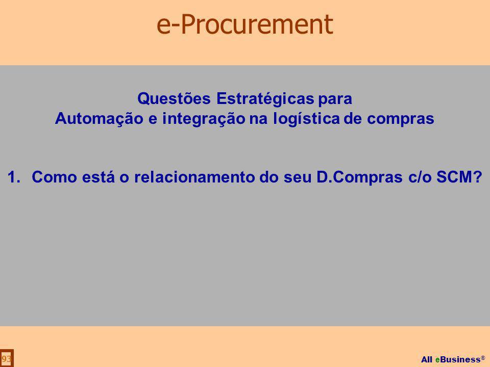All e Business ® 93 Questões Estratégicas para Automação e integração na logística de compras 1.Como está o relacionamento do seu D.Compras c/o SCM? e