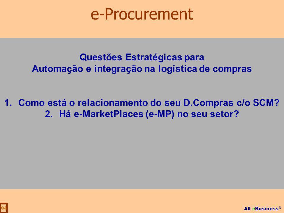 All e Business ® 94 Questões Estratégicas para Automação e integração na logística de compras 1.Como está o relacionamento do seu D.Compras c/o SCM? 2