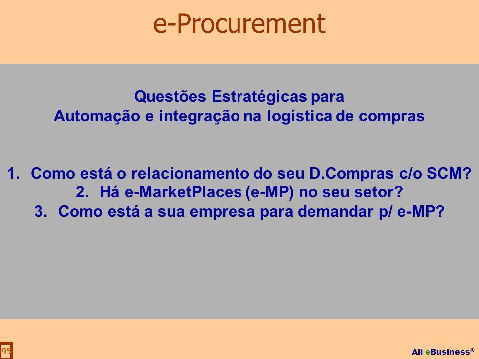 All e Business ® 95 Questões Estratégicas para Automação e integração na logística de compras 1.Como está o relacionamento do seu D.Compras c/o SCM? 2