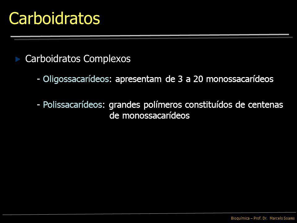 Bioquímica – Prof. Dr. Marcelo Soares Os Carboidratos podem ser divididos em 2 grupos: Açúcares Simples e Carboidratos Complexos - Monossacarídeos: sã