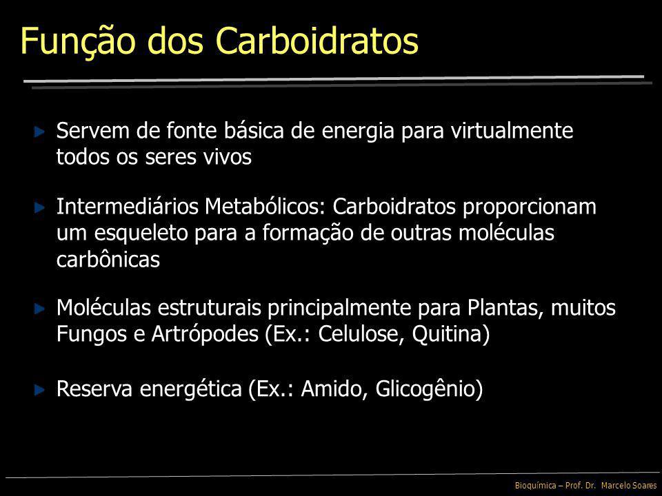 Bioquímica – Prof. Dr. Marcelo Soares Carboidratos Complexos - Oligossacarídeos: apresentam de 3 a 20 monossacarídeos Carboidratos - Polissacarídeos: