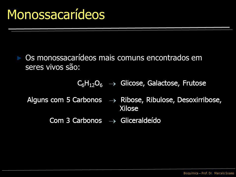 Bioquímica – Prof. Dr. Marcelo Soares Os monossacarídeos menores, contendo 3 átomos de Carbono são denominados de Trioses Monossacarídeos Monossacaríd