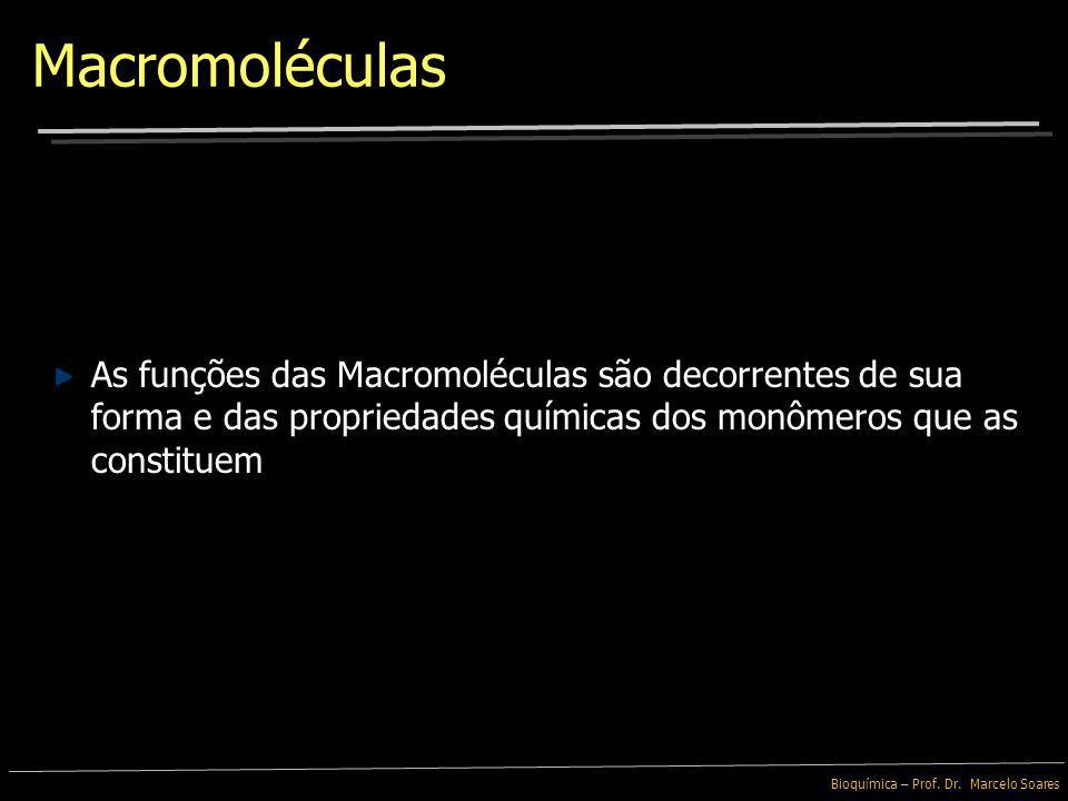 Bioquímica – Prof. Dr. Marcelo Soares Macromoléculas As Macromoléculas Biológicas podem ser agrupadas em 4 categorias: Essas moléculas são responsávei