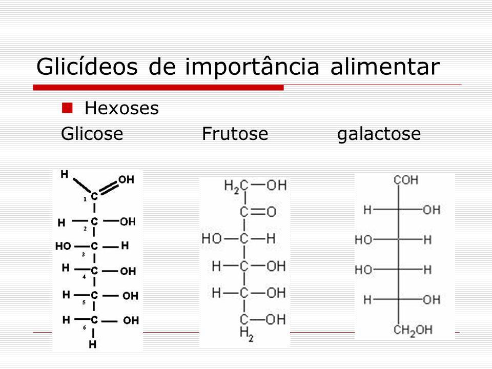 Glicídeos de importância alimentar Oses: Pentoses: Xilose: aveia Arabinose: vegetais