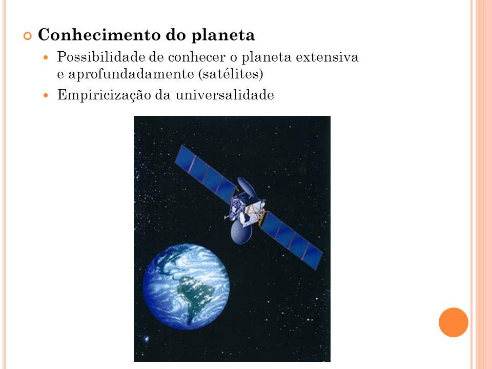 Conhecimento do planeta Possibilidade de conhecer o planeta extensiva e aprofundadamente (satélites) Empiricização da universalidade