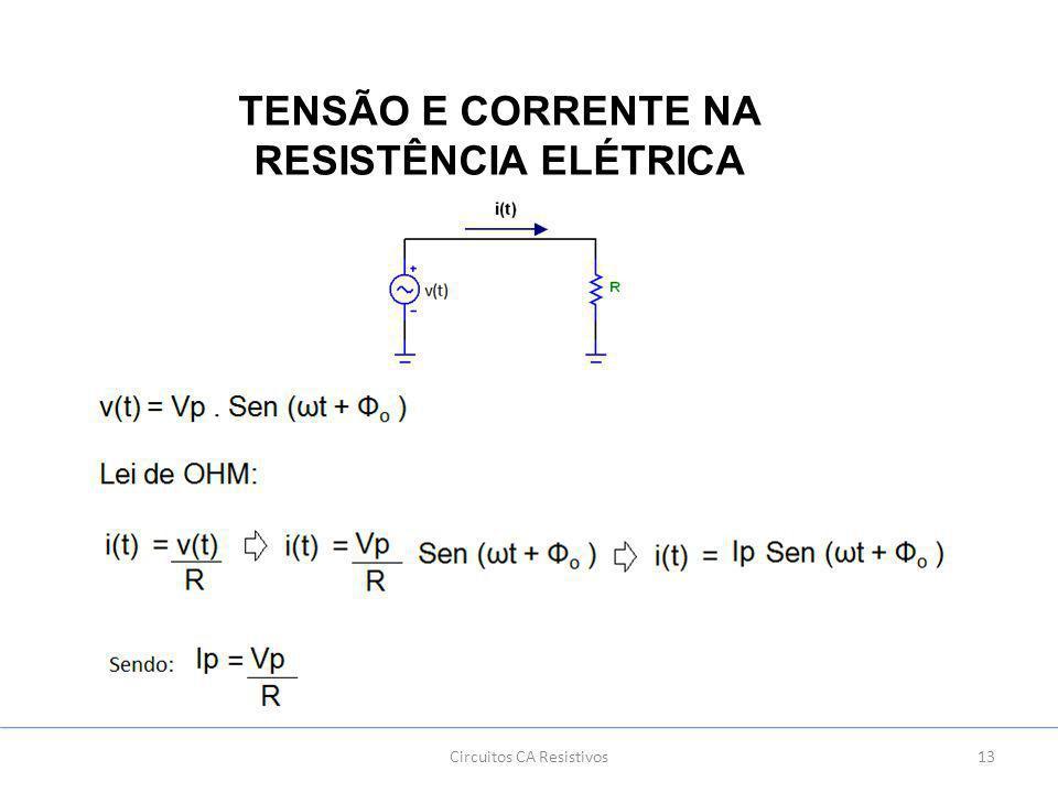 Circuitos CA Resistivos13 TENSÃO E CORRENTE NA RESISTÊNCIA ELÉTRICA