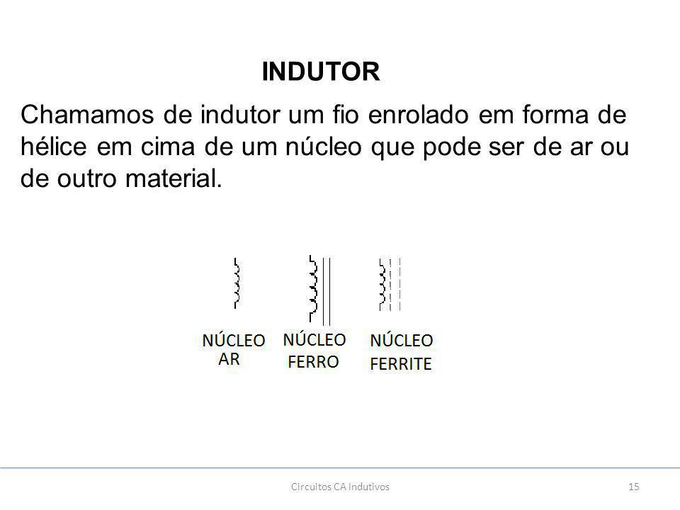 15Circuitos CA Indutivos INDUTOR Chamamos de indutor um fio enrolado em forma de hélice em cima de um núcleo que pode ser de ar ou de outro material.